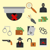 Crime icons protection law justice sign security police gun offence felony transgression flat vector illustration Stock Photo