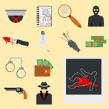 Crime icons protection law justice sign security police gun offence felony transgression flat vector illustration Stock Photos