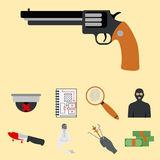 Crime icons protection law justice sign security police gun offence felony transgression flat vector illustration Royalty Free Stock Images