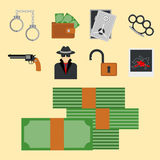 Crime icons protection law justice sign security police gun offence felony transgression flat vector illustration Royalty Free Stock Image