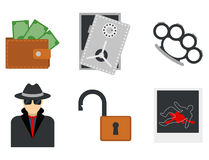Crime icons protection law justice sign security police gun offence felony transgression flat vector illustration Royalty Free Stock Photo