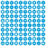 100 crime icons set blue. 100 crime icons set in blue hexagon isolated vector illustration vector illustration