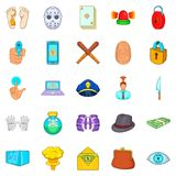 Crime icons set, cartoon style. Crime icons set. Cartoon set of 25 crime vector icons for web isolated on white background Stock Photos