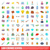 100 crime icons set, cartoon style Royalty Free Stock Images