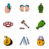 Crime icons set, cartoon style. Crime icons set. Cartoon illustration of 9 crime vector icons for web Royalty Free Stock Photo