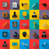 Crime icons set, flat style. Crime icons set in flat style for any design Royalty Free Stock Image