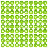 100 crime icons set green circle. Isolated on white background vector illustration Stock Photography
