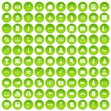 100 crime icons set green. 100 crime icons set in green circle isolated on white vectr illustration Vector Illustration