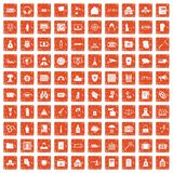100 crime icons set grunge orange. 100 crime icons set in grunge style orange color isolated on white background vector illustration Stock Photos