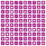 100 crime icons set grunge pink. 100 crime icons set in grunge style pink color isolated on white background vector illustration Vector Illustration