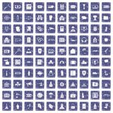 100 crime icons set grunge sapphire. 100 crime icons set in grunge style sapphire color isolated on white background vector illustration Stock Image