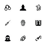 Crime 9 icons set. Isolated, black on white background Stock Photography