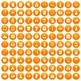 100 crime icons set orange. 100 crime icons set in orange circle isolated on white vector illustration Royalty Free Illustration