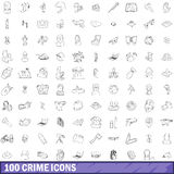 100 crime icons set, outline style. 100 crime icons set in outline style for any design vector illustration Stock Photo
