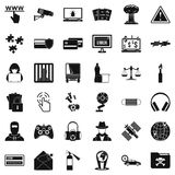 Crime icons set, simple style Royalty Free Stock Images