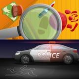 Crime investigation banner set, cartoon style. Crime investigation banner set. Cartoon illustration of crime investigation vector banner set for web design royalty free illustration
