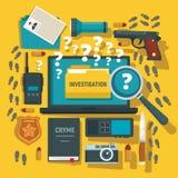 Crime investigation concept background, flat style. Crime investigation concept background. Flat illustration of crime investigation vector concept background stock illustration