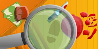 Crime investigation concept banner, cartoon style vector illustration