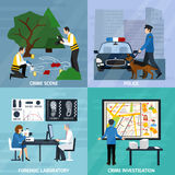Crime Investigation Flat Design Concept. With experts at murder scene forensic laboratory and police isolated vector illustration Royalty Free Stock Photos