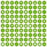 100 crime investigation icons hexagon green. 100 crime investigation icons set in green hexagon isolated vector illustration stock illustration