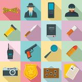 Crime investigation icons set, flat style. Crime investigation icons set. Flat set of crime investigation vector icons for web design stock illustration