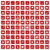 100 crime investigation icons set grunge red. 100 crime investigation icons set in grunge style red color isolated on white background vector illustration Stock Photos
