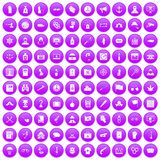 100 crime investigation icons set purple. 100 crime investigation icons set in purple circle isolated vector illustration royalty free illustration