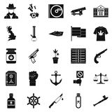Crime investigation icons set, simple style. Crime investigation icons set. Simple set of 25 crime investigation vector icons for web isolated on white Stock Photos