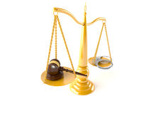 Crime and justice balance. On white background Stock Photos