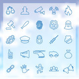 25 crime, justice icons set. 25 outline crime, justice icons set, blue on clouds background Royalty Free Stock Photography