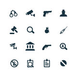 Crime, justice icons set Royalty Free Stock Image