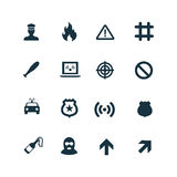 Crime, justice icons set Royalty Free Stock Images