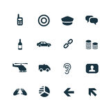Crime, justice icons set Royalty Free Stock Photos