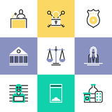 Crime and justice pictogram icons set Stock Photos