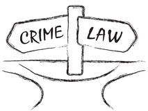 Crime and Law. Illustration of signpost with signs CRIME and LAW on the crossroads royalty free illustration