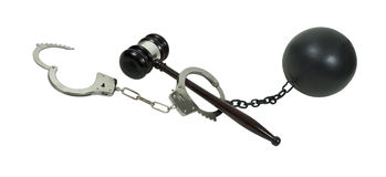 Crime, Legal Process and Consequence. Shown by a pair of hancuffs, a gavel and a ball and chain - path included Stock Images