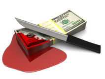 Crime money. 3d illustration of money stack with blood and knife, over white background Royalty Free Stock Images