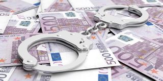 Crime and money. Handcuffs on euro banknotes. 3d illustration. Crime and money. Handcuffs on euro banknotes background. 3d illustration Stock Illustration