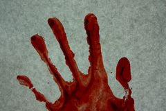 A crime. murder. Hand imprint red blood. Photo for your design royalty free stock photo