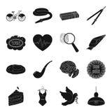 Crime, nourriture, cottage, outil et toute autre icône de Web dans le style noir Photo stock