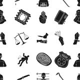 Crime pattern icons in black style. Big collection of crime vector symbol stock illustration Royalty Free Stock Photo