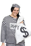Crime Pays. Convict Laughs All The Way From The Bank While Holding Money Bags Full Of Cash Proving Crime Does Pay Royalty Free Stock Photography