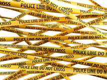 Crime Police Line Do Not Cross yellow ribbons Royalty Free Stock Photography
