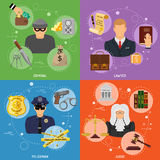 Crime and Punishment Banners. With Flat Icons for Poster, Web Site, Advertising like Thief, Policeman, Lawyer, Judge Royalty Free Stock Images