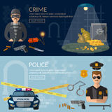 Crime and punishment banners security system. Thief and policeman vector illustration Royalty Free Stock Photo