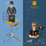 Crime and Punishment banners thief and policeman Royalty Free Stock Images