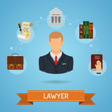 Crime and Punishment Concept. In Flat style icons such as Lawyer, Briefcase, Court House and Law Books. Vector for Brochure, Web Site and Advertising Royalty Free Stock Photos