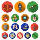 Crime and Punishment flat icons in set collection for design.Criminal vector symbol stock web illustration. Crime and Punishment flat icons in set collection Stock Photos