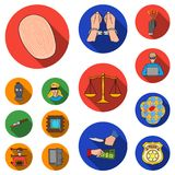 Crime and Punishment flat icons in set collection for design.Criminal vector symbol stock web illustration. Crime and Punishment flat icons in set collection Royalty Free Stock Images