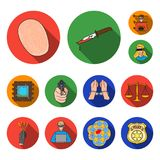 Crime and Punishment flat icons in set collection for design.Criminal vector symbol stock web illustration. Crime and Punishment flat icons in set collection Royalty Free Stock Photos